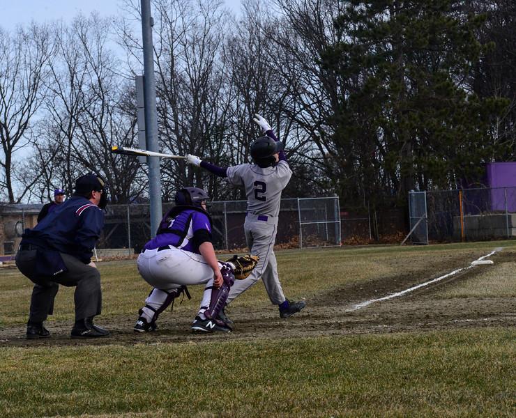 KRISTOPHER RADDER - BRATTLEBORO REFORMER<br /> Brattleboro beats Bellows Falls 9-0 during a baseball game at Brattleboro Union High School on Monday, April 6, 2018.