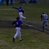 KRISTOPHER RADDER - BRATTLEBORO REFORMER<br /> The ball gets away from Bellows Falls' Jackson Brown to allow Brattleboro's Jeremy Rounds to make it to second during a baseball game at Brattleboro Union High School on Monday, April 6, 2018.