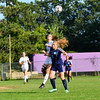 KRISTOPHER RADDER - BRATTLEBORO REFORMER<br /> Brattleboro's Axis Balsley and Mt. Mansfield's Ella Goetze jump into the air to gain control of the ball during a soccer match at Brattleboro Union High School on Monday, Sept. 11, 2017.
