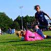 KRISTOPHER RADDER - BRATTLEBORO REFORMER<br /> Mt. Mansfield's Ursula Moran slides to get the ball during a soccer match at Brattleboro Union High School on Monday, Sept. 11, 2017.