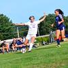 KRISTOPHER RADDER - BRATTLEBORO REFORMER<br /> Brattleboro's Rachel Rooney takes an attempt on goal during a soccer match at Brattleboro Union High School on Monday, Sept. 11, 2017.