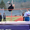 KRISTOPHER RADDER - BRATTLEBORO REFORMER<br /> Brattleboro's Lily Tessitore successfully makes it over 5ft. 9in. in the pole vaulting competition during a track meet at Brattleboro Union High School on Thursday, April 12, 2018.