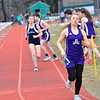 KRISTOPHER RADDER - BRATTLEBORO REFORMER<br /> Brattleboro's Elery Loggia competes in the 4x800 relay during a track meet at Brattleboro Union High School on Thursday, April 12, 2018.