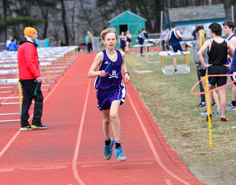 Brattleboro Union High School hosts a track meet on Thursday, April 12, 2018.