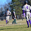 KRISTOPHER RADDER - BRATTLEBORO REFORMER<br /> Brattleboro hosts Springfield during a baseball game at Brattleboro Union High School on Monday, April 23, 2018.