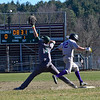 KRISTOPHER RADDER - BRATTLEBORO REFORMER<br /> Brattleboro's Tyler Millerick makes it to first before the ball could reach Springfield's first basemen Colin Pinney during a baseball game at Brattleboro Union High School on Monday, April 23, 2018.