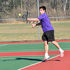KRISTOPHER RADDER - BRATTLEBORO REFORMER<br /> Brattleboro takes on Amherst during a boys' tennis match at Brattleboro Union High School on Monday, April 23, 2018.
