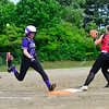 KRISTOPHER RADDER - BRATTLEBORO REFORMER<br /> Brattleboro's Hailey Derosia makes it to first after putting down a bunt during a Division 1 Playdown game at Brattleboro Union High School on Thursday, May 31, 2018.