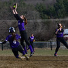 KRISTOPHER RADDER - BRATTLEBORO REFORMER<br /> Brattleboro's Jaime Mahoney slides into second while Bellows Falls' Emily Bazin tries to get the ball during a softball game at Brattleboro Union High School on Monday, April 9, 2018.