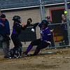 KRISTOPHER RADDER - BRATTLEBORO REFORMER<br /> Brattleboro's Mya McAuliffe slides into home during a softball game at Brattleboro Union High School on Monday, April 9, 2018.