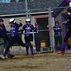KRISTOPHER RADDER - BRATTLEBORO REFORMER<br /> Brattleboro's Jaime Mahoney makes it into home after a wild pitch during a softball game at Brattleboro Union High School on Monday, April 9, 2018.