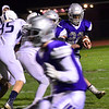KRISTOPHER RADDER — BRATTLEBORO REFORMER<br /> Brattleboro's Chris Frost runs the ball for a first down against Fair Haven during a semifinals Division 2 playoff game at Brattleboro Union High School on Friday, Nov. 1, 2019.