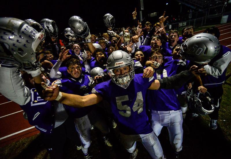 KRISTOPHER RADDER — BRATTLEBORO REFORMER<br /> Brattleboro football team celebrates their win against Fair Haven.