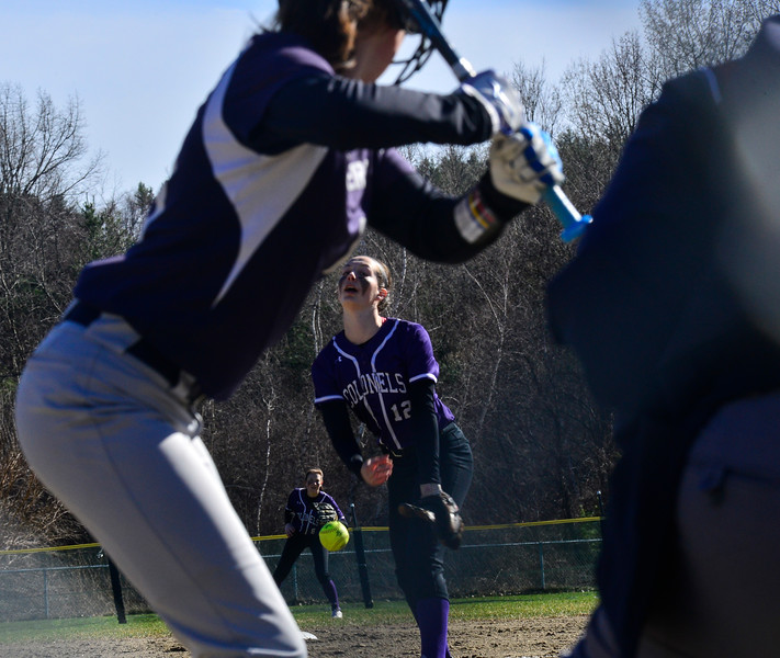 KRISTOPHER RADDER — BRATTLEBORO REFORMER<br /> Brattleboro's Hailey Derosia pitches during a softball game at Brattleboro Union High School on Tuesday, April 16, 2019.