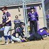 KRISTOPHER RADDER — BRATTLEBORO REFORMER<br /> Brattleboro's Bella Powell slides safely into home before Fair Haven's Sam Barker could apply the tag during a softball game at Brattleboro Union High School on Tuesday, April 16, 2019.