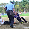 KRISTOPHER RADDER - BRATTLEBORO REFORMER<br /> Brattleboro's Hailey Derosia could not keep ahold of the ball while Keene's Laurel Clace slides into home during a softball game at Keene High School, in Keene, N.H., on Friday, May 11, 2018.
