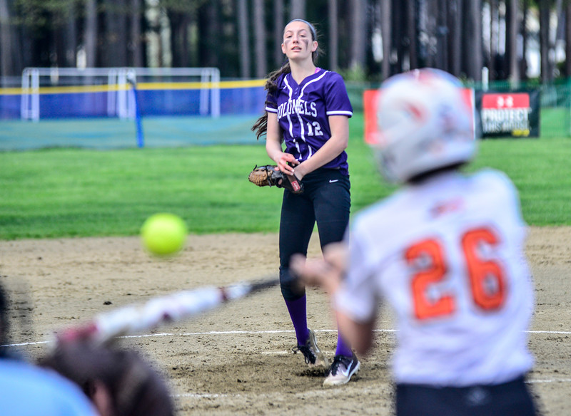 KRISTOPHER RADDER - BRATTLEBORO REFORMER<br /> Brattleboro's Hailey Derosia pitches a strike to Keene's Alyssa Bartlett during a softball game at Keene High School, in Keene, N.H., on Friday, May 11, 2018.