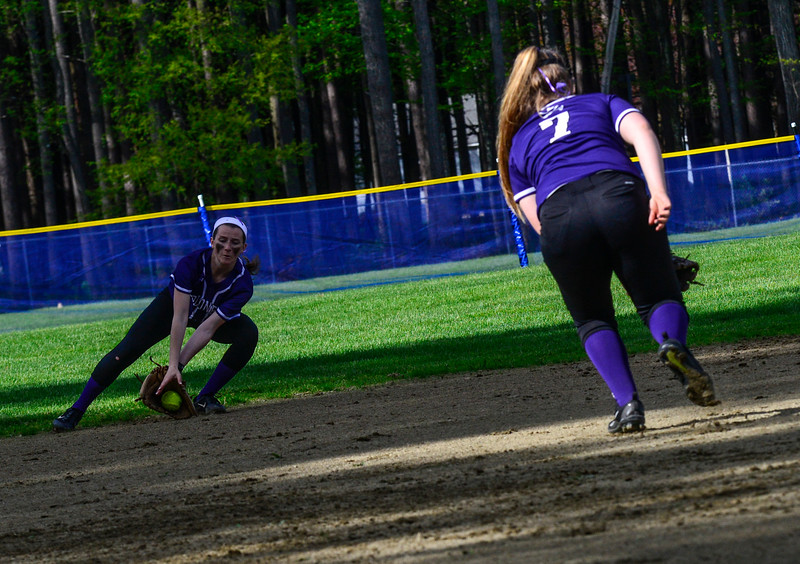 KRISTOPHER RADDER - BRATTLEBORO REFORMER<br /> Brattleboro took on Keene during a softball game at Keene High School, in Keene, N.H., on Friday, May 11, 2018.