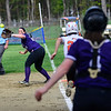KRISTOPHER RADDER - BRATTLEBORO REFORMER<br /> Brattleboro's Mya McAuliffe get the ball to get Keene's Alyssa Bartlett out at first during a softball game at Keene High School, in Keene, N.H., on Friday, May 11, 2018.