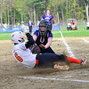 KRISTOPHER RADDER - BRATTLEBORO REFORMER<br /> Keene's Reese Earle safely slides into home before Brattleboro's Jamie Mahoney could apply the tag during a softball game at Keene High School, in Keene, N.H., on Friday, May 11, 2018.