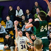 KRISTOPHER RADDER — BRATTLEBORO REFORMER<br /> Brattleboro's Greg Fitzgerald shoots the ball while being covered by St. Johnsbury's Andrew Cowan during a boys varsity game at Brattleboro Union High School on Tuesday, Dec. 18, 2018.