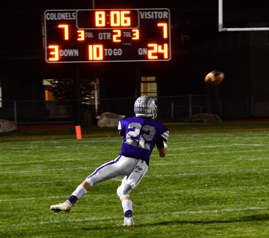 . Brattleboro\'s Mall Gaboriault catches the ball during a football game against Essex at Brattleboro Union High School on Friday, Oct. 14, 2016. Kristopher Radder / Reformer Staff