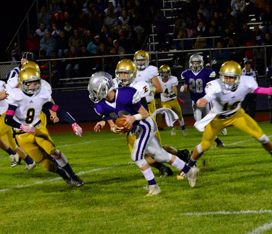 . Brattleboro loses 21-7 to Essex during a football game at Brattleboro Union High School on Friday, Oct. 14, 2016. Kristopher Radder / Reformer Staff