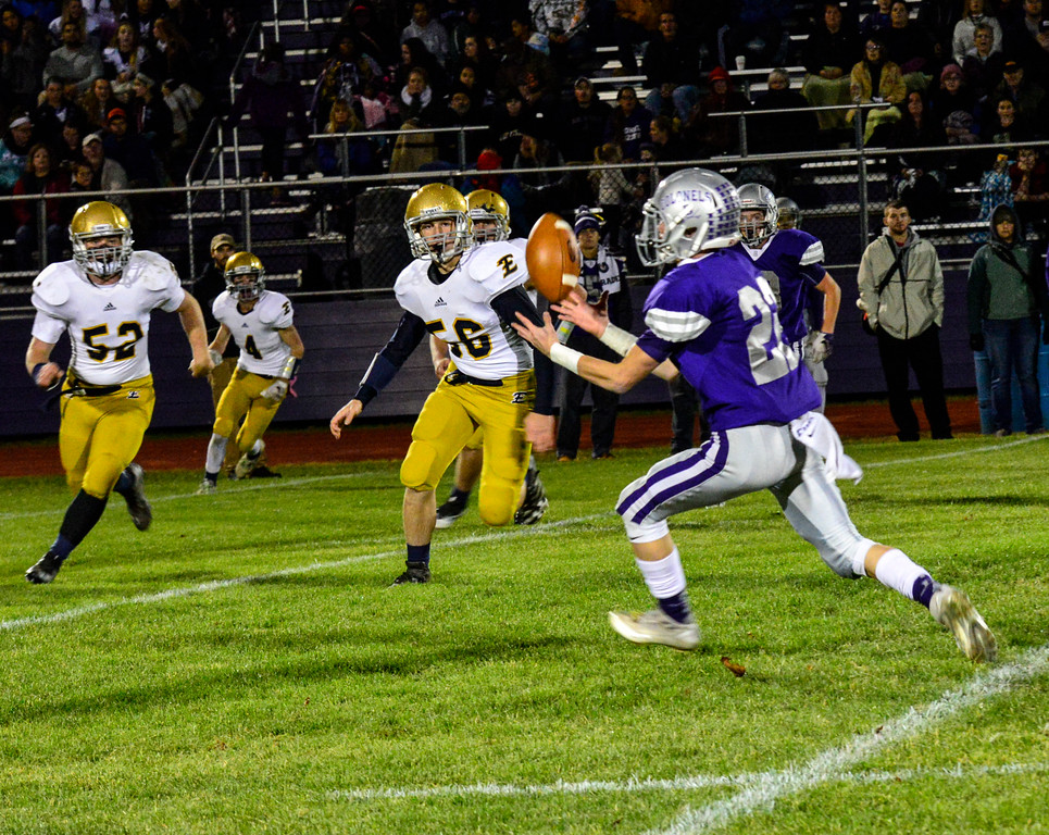 . Brattleboro\'s Matt Gaboriault catches the ball to run it in for a first down during a football game against Essex at Brattleboro Union High School on Friday, Oct. 14, 2016. Kristopher Radder / Reformer Staff