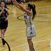 KRISTOPHER RADDER - BRATTLEBORO REFORMER<br /> Brattleboro's Brenna Harris hits a three-pointer during a basketball game against Mt. Anthony Union on Thursday, Feb. 23, 2017. Brattleboro would win 47-42.