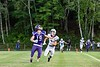 Brattleboro's Aaron Petrie sprints towards Terrier TE, Dylan Clark, as he eyes an incoming pass during the season opener at BFUHS August 30, 2019.