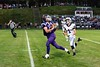 Vancor McGregor makes a catch near the 30 yard line with Brattleboro's Aaron Petrie in pursuit during the season opener at BFUHS on August 30.