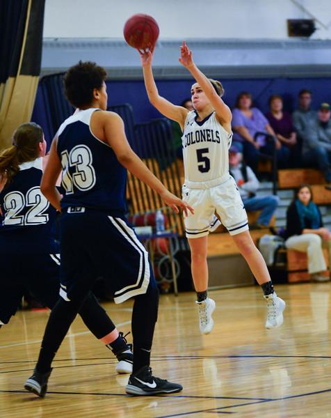 KRISTOPHER RADDER - BRATTLEBORO REFORMER<br /> Brattleboro's Megyn Ayotte makes a jump-shot during a girls' varsity basketball game against Burlington at Brattleboro Union High School on Saturday, Jan. 7, 2017.