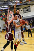 KRISTOPHER RADDER - BRATTLEBORO REFORMER<br /> Brattleboro's Eli Lombardi  gets past Monument Mountain's defense to take an attempt during a boys' basketball game at Brattleboro Union High School on Tuesday, Dec. 13, 2016.