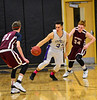 KRISTOPHER RADDER - BRATTLEBORO REFORMER<br /> Brattleboro's Eli Lombardi steals the ball from Monument Mountain's Graham Herrick during a boys' basketball game at Brattleboro Union High School on Tuesday, Dec. 13, 2016.
