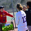 KRISTOPHER RADDER - BRATTLEBORO REFORMER<br /> Seth Marcil, the new head coach for the Brattleboro Girls Varsity Tennis team, goes over a serving exercise during practice on Monday, March 26, 2018.