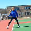 KRISTOPHER RADDER - BRATTLEBORO REFORMER<br /> Brattleboro's Annie Takacs hits the ball during varsity tennis practice on Monday, March 26, 2018.