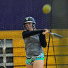 KRISTOPHER RADDER - BRATTLEBORO REFORMER<br /> Brattleboro's Meara Seery hits the ball while in the batting cage during training at the Brattleboro Union High School's gym on Friday, March 23, 2018.
