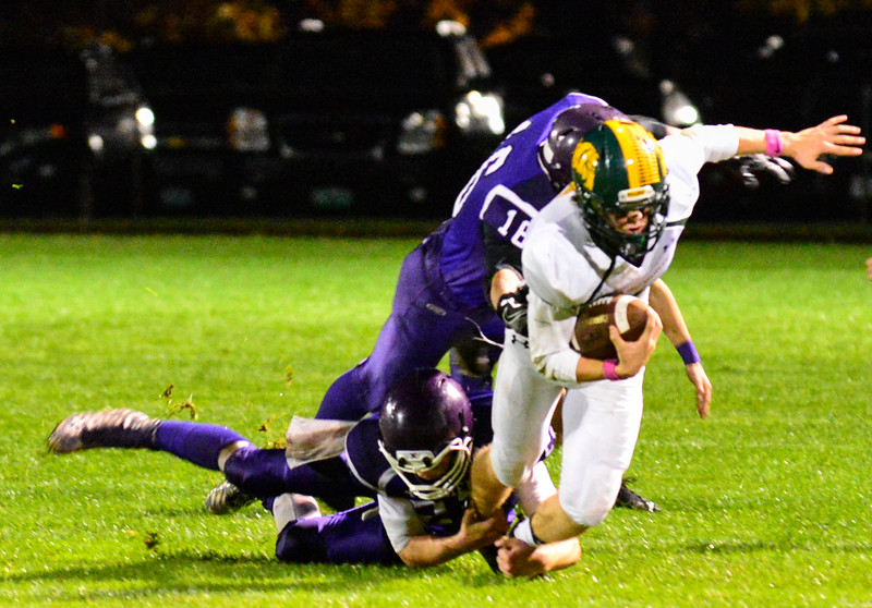 Bellows Falls winning streak is snapped by Burr and Burton's victory during a football game at Bellows Falls Union High School on Friday, Oct. 21, 2016. Burr and Burton remains prefect after beating Bellows Falls 34-14. Kristopher Radder / Reformer Staff