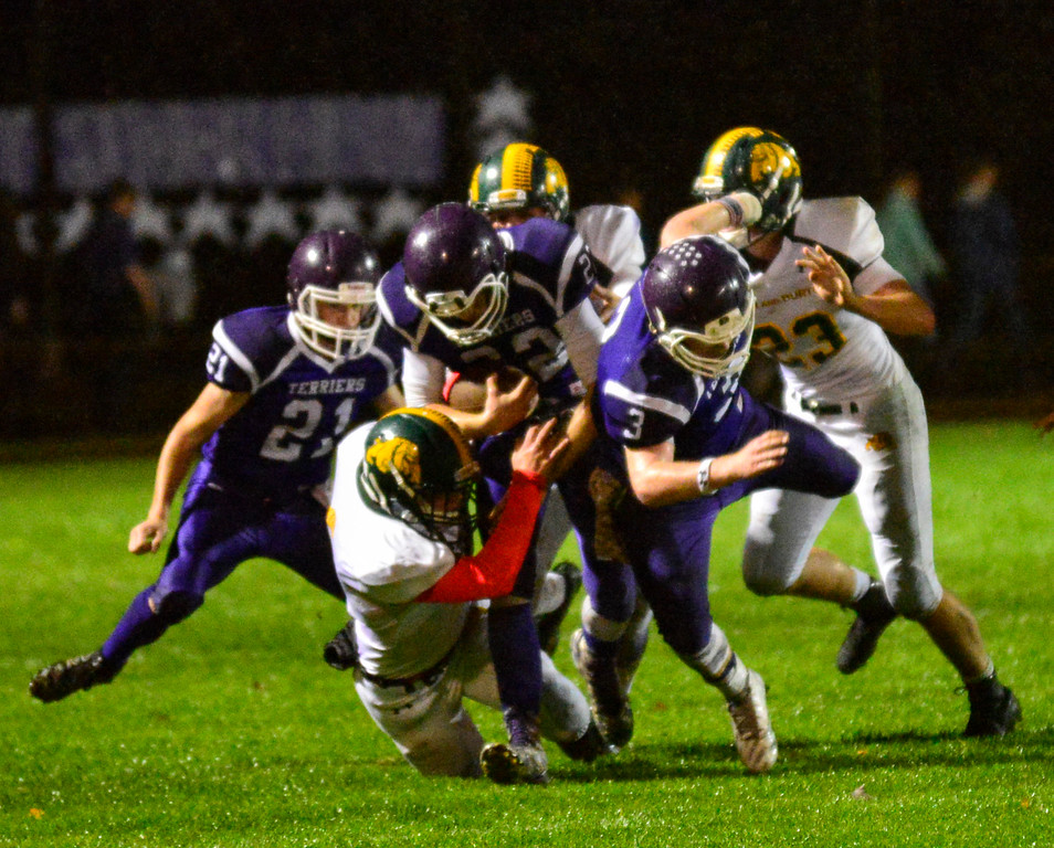 . Bellows Falls winning streak is snapped by Burr and Burton\'s victory during a football game at Bellows Falls Union High School on Friday, Oct. 21, 2016. Burr and Burton remains prefect after beating Bellows Falls 34-14. Kristopher Radder / Reformer Staff