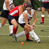 FH_UD CBE_5163  Upper Dublin's Samantha Boyd reverses her direction on Central Bucks West's Julia Schoenwald.     Bob Raines  10.24.11