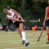 FH_UD CBE_5242  Upper Dublin's Kelly Cross clubs the ball toward the Central Bucks East crease as Emily Vasey flinches.     Bob Raines 10.24.11