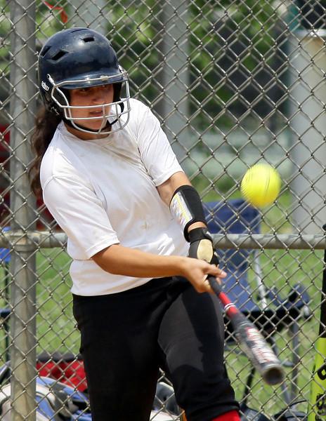 Cheltenham's Erika Winter gets a piece of the ball.