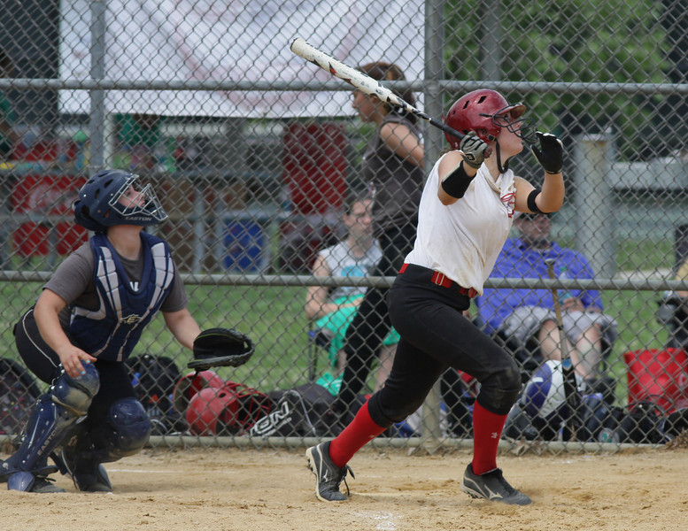 Haley DeLany, Souderton, sends a foul ball down the third base line.