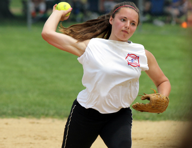 William Tennent shortstop Whitney Delagol throws to first base for the out.