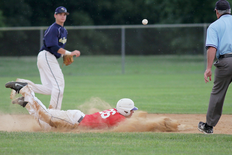 Central Bucks South runner Jon Mullin dives back into second as the pick-off throw goes wild.