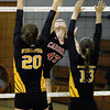 Archbishop Carroll's Sarah Layfield goes up for a spike against Archbishop Wood.