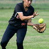 Hatboro Horsham center fielder Melissa Spinosa grabs a long Central Bucks South  ball on the bounce.<br /> Bob Raines 5/12/11
