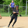 Hatboro Horsham's Melissa Spinosa makes the turn at second but has to settle for a doublewhen she gets the hold sign from the third base coach in action against Central Bucks South.<br /> Bob Raines 5/12/11