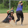 Hatboro Horsham's Julie Wambold slides under the tag as she steals second base in action against Central Bucks South.<br /> Bob Raines 5/12/11