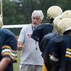 Coach Joe Gro talks to his players.<br /> Bob Raines 8/25/10